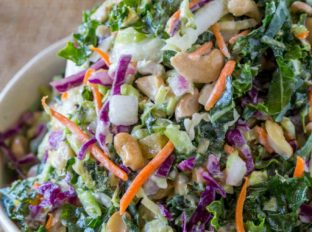 Cashew Kale Salad with a lemony greek yogurt dressing is a fantastic filling lunch option that takes just a few minutes to make!