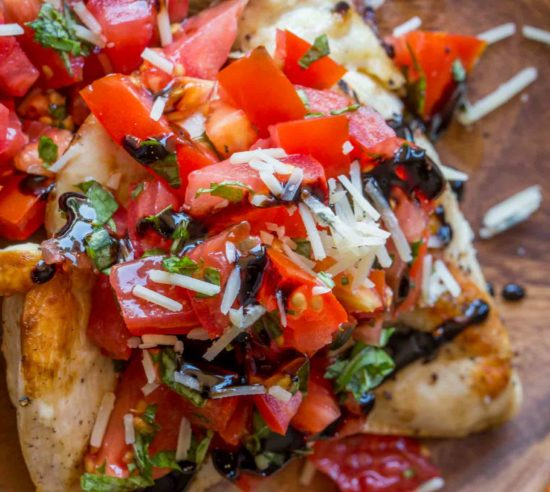The easiest Balsamic Bruschetta Chicken with Parmesan Cheese and Balsamic Glaze. 3 SP/FP or 7 PP