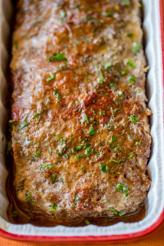 Healthy Meatloaf in loaf pan