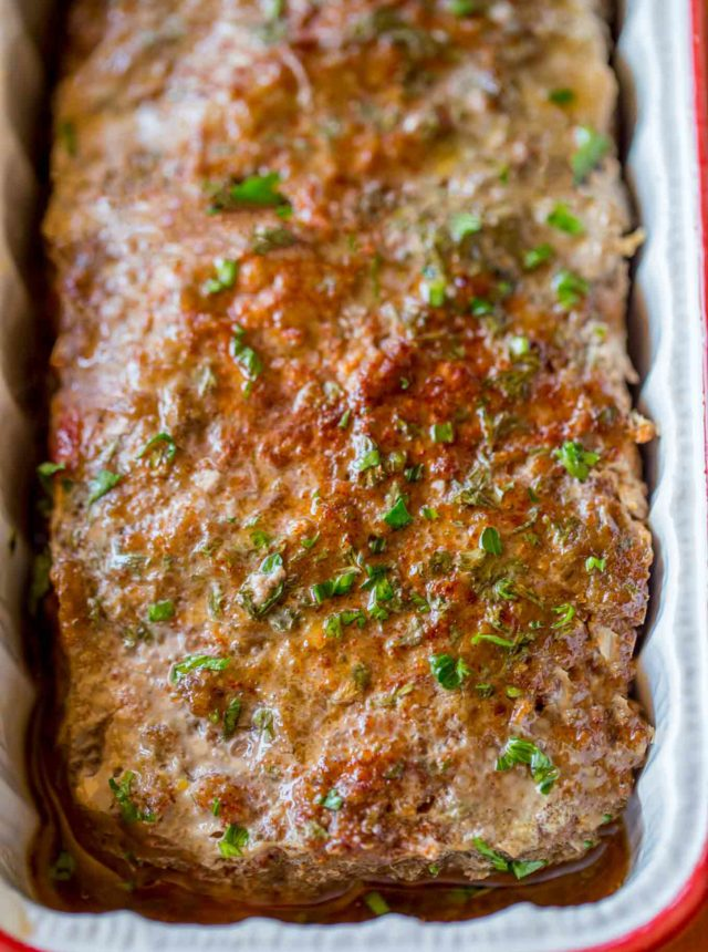 Healthy Beef Meatloaf in pan