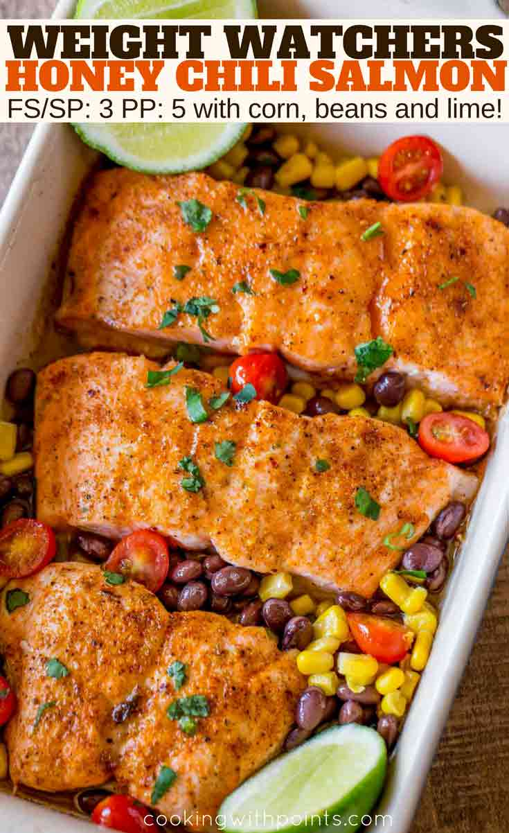 Honey Chili Salmon in pan with corn, beans and tomatoes