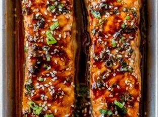 Honey Soy Salmon in baking dish
