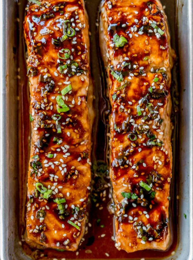 Honey Soy Salmon in baking dish