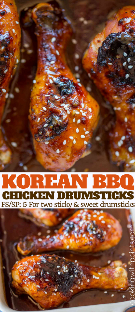 Korean BBQ Chicken Drumsticks are slightly spicy, sticky, sweet, and full of garlic and ginger and crispy even with skin! Just one dish to clean and dinner is done in 45 minutes!