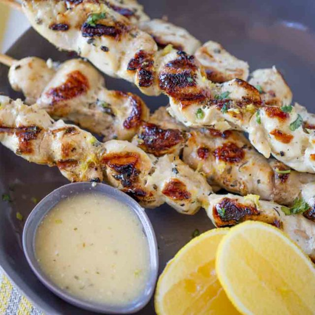 The easiest most flavorful Lemon Greek Chicken Skewers with 0SP and 3PP.