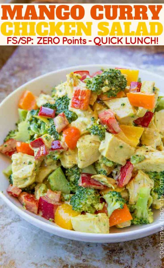 The easiest Curry Chicken Salad with Mangoes with zero points!