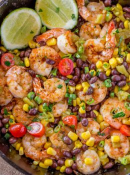 Shrimp Burrito Bowl with lime wedge