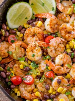 Mexican Shrimp Burrito Bowl made with spiced shrimp, corn, black beans, tomatoes and chilis tossed with a honey lime glaze for just 1 smart point per serving!