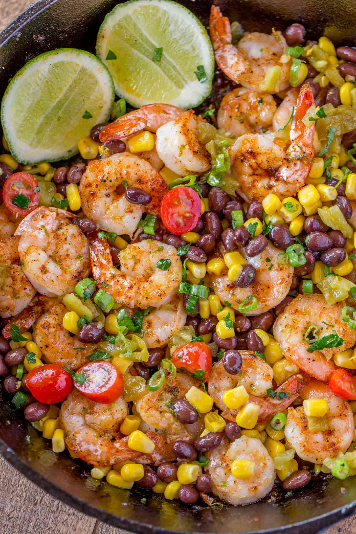skillet of Mexican shrimp and corn, black beans and chilis.