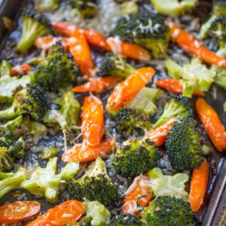 Roasted Vegetables in Pan with cheese.
