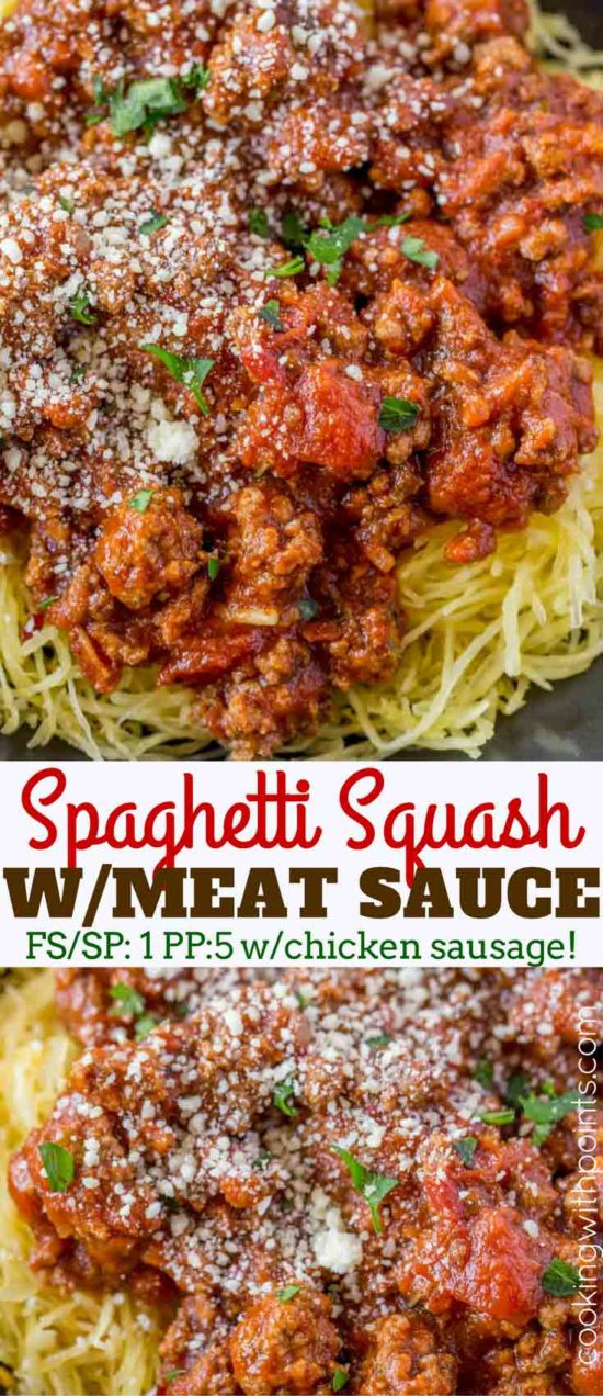 Spaghetti Squash with Chicken Meat Sauce