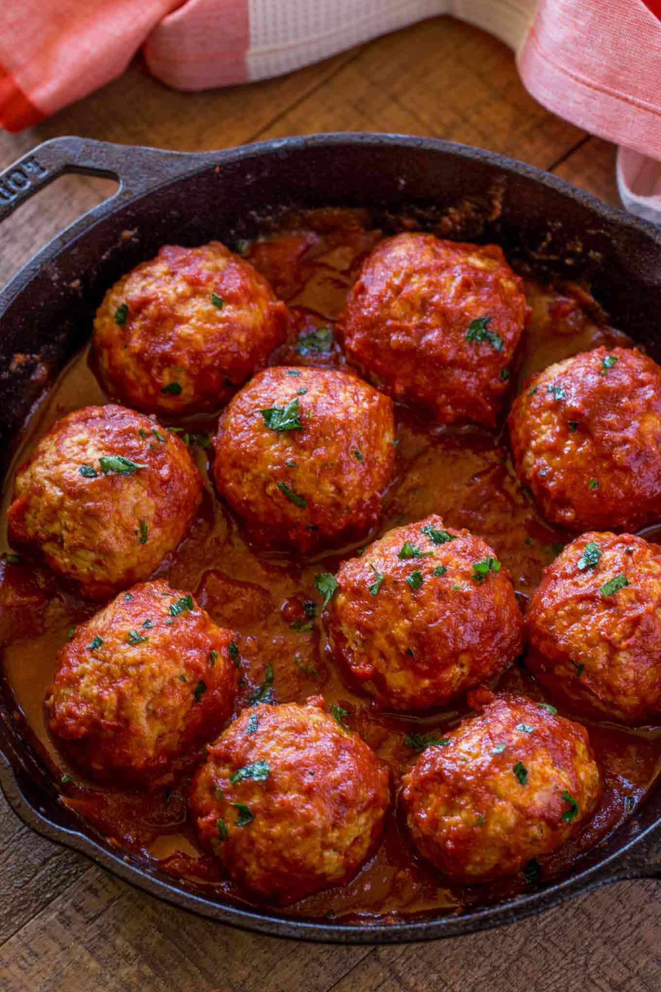 Chicken Meatballs in pan