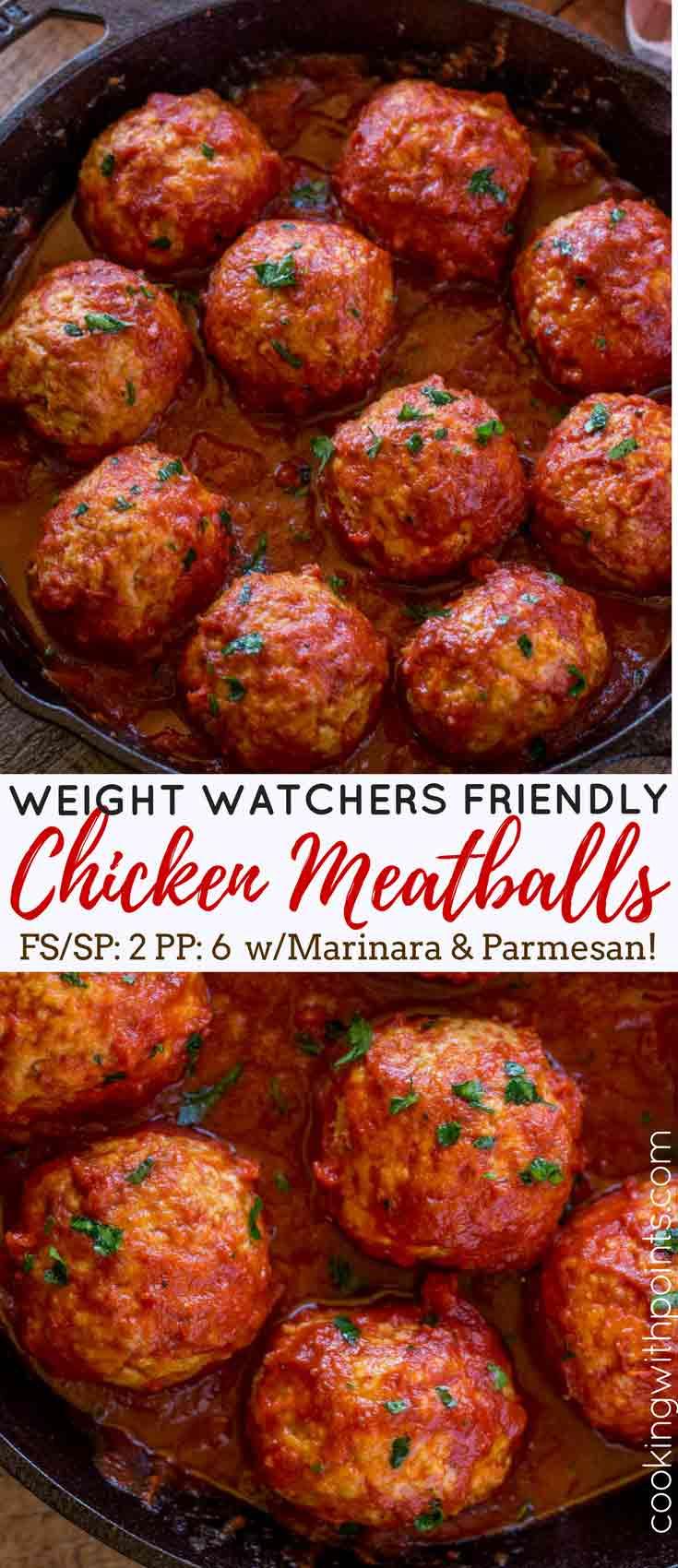 Baked Chicken Meatballs in Marinara Sauce