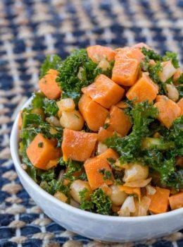 Chickpea Sweet Potato Kale Salad