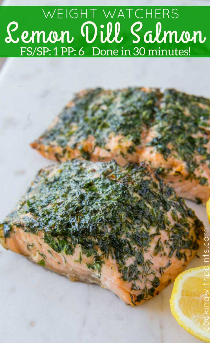 Lemon Dill Salmon on marble