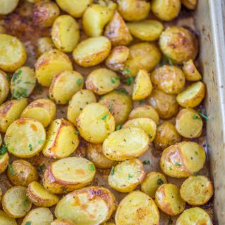 Roasted potatoes in pan