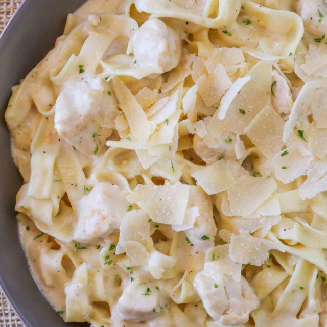 Lightened up Chicken Alfredo