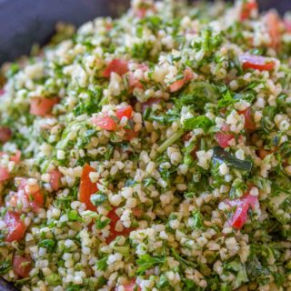 Tabbouleh salad in blue bowl