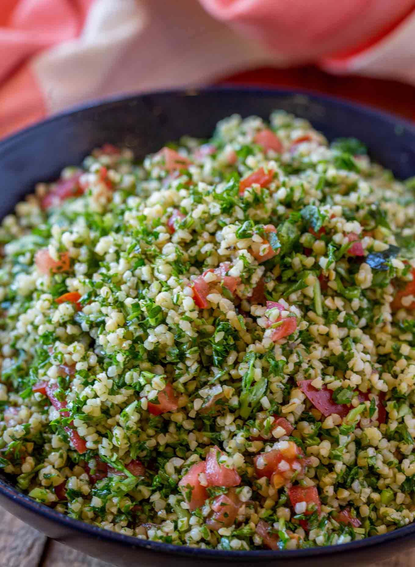 Bulgur, tomatoes, parsley and mint are classic ingredients in this tabbouli salad.
