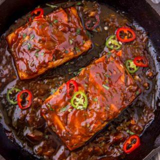 Thai Chili BBQ Salmon in grill pan