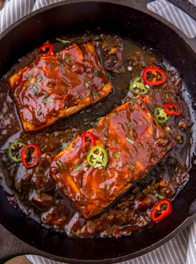 Thai Chili BBQ Salmon in grill pan