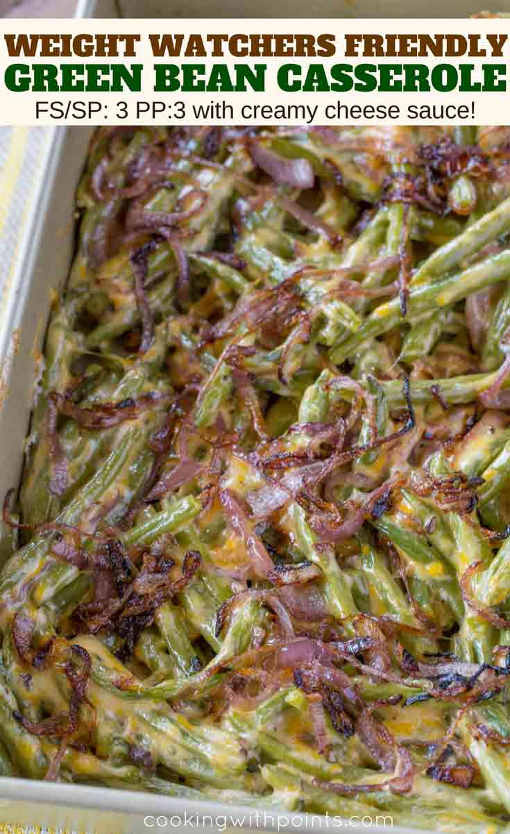 Red Onion topped Healthy Green Bean Casserole