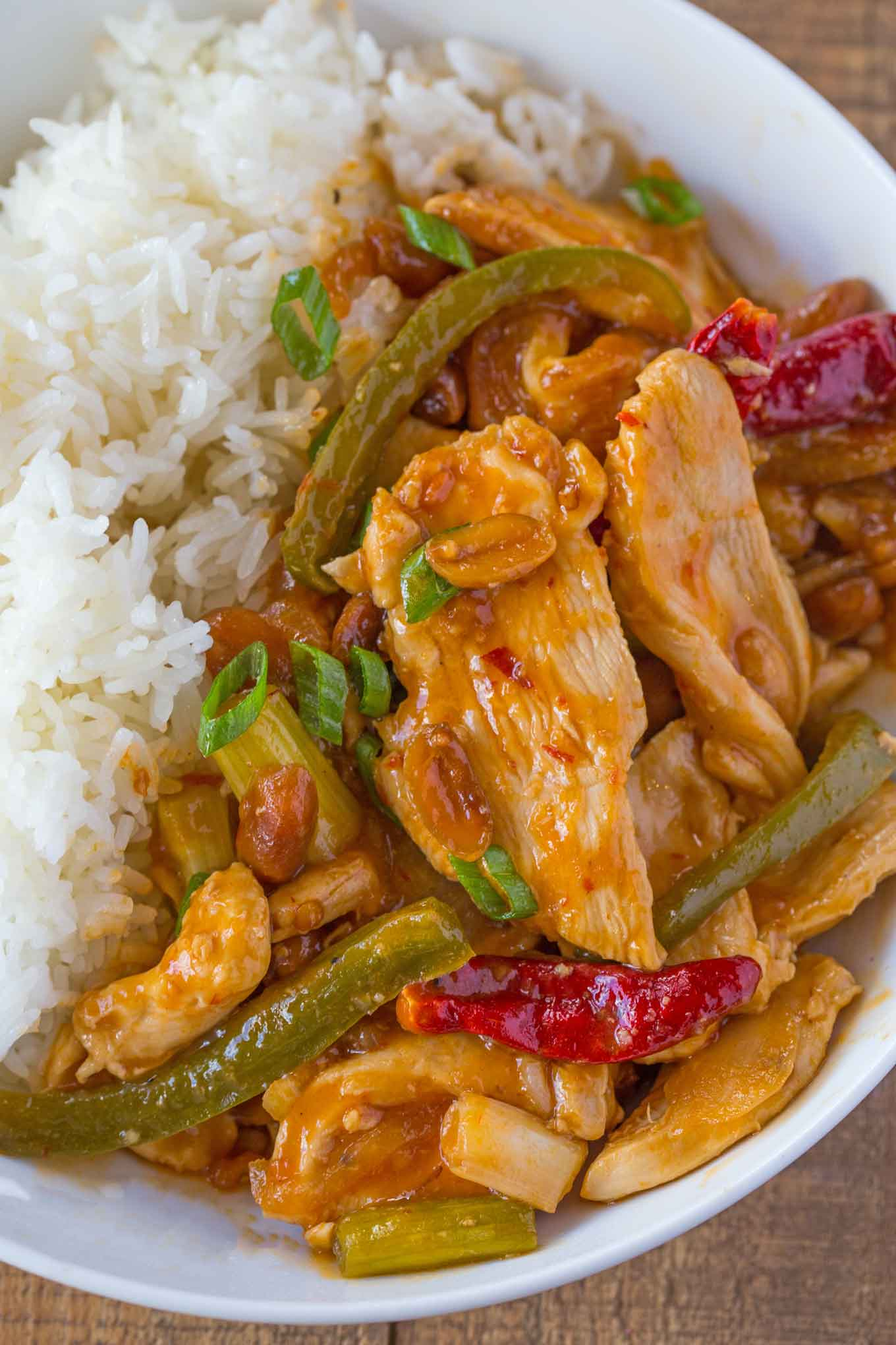 Healthier Kung Pao Chicken in bowl with rice