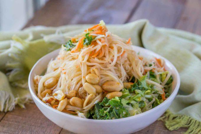 Thai Green Papaya Salad in Bowl with Peanuts