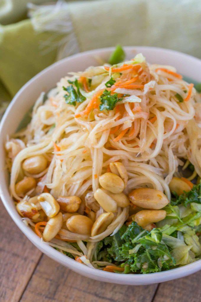 Thai Salad with Green Papaya in bowl