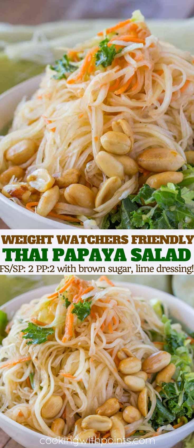 thai green papaya salad collage