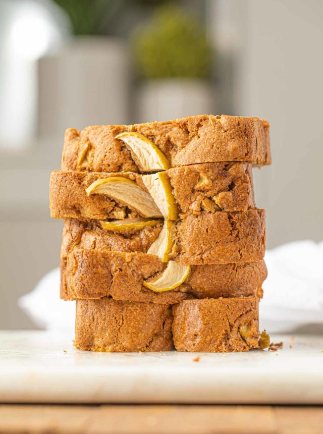 Applesauce Bread sliced on board