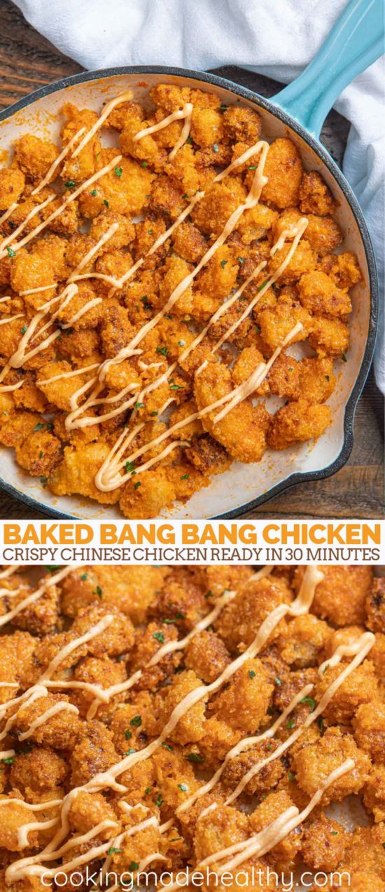 Baked bang bang chicken in a blue pan with spicy mayo