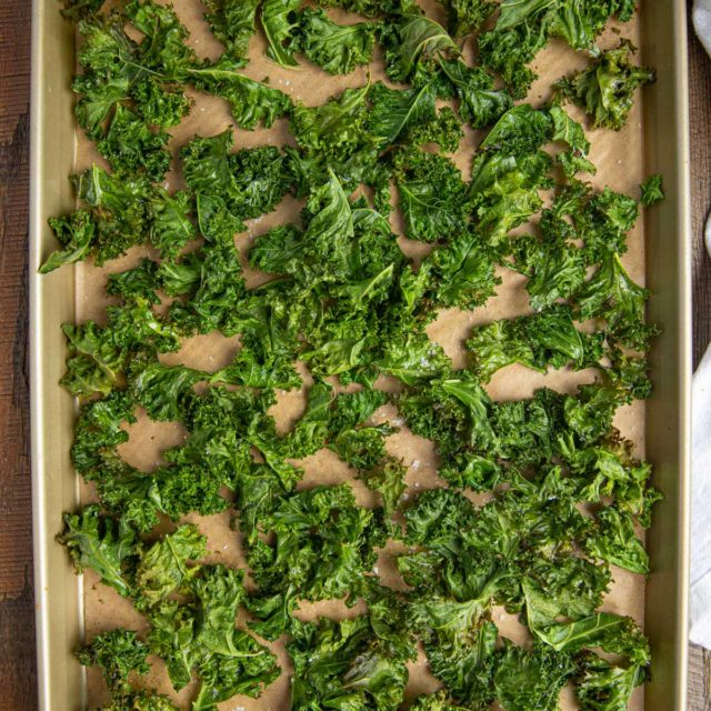 Kale Baked into Chips on baking sheet