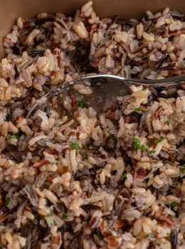 Spoonful of baked Wild Rice