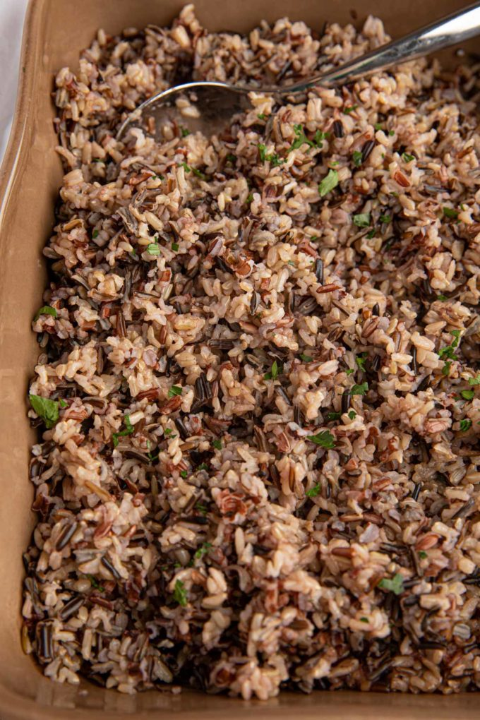Wild Rice baked in casserole dish