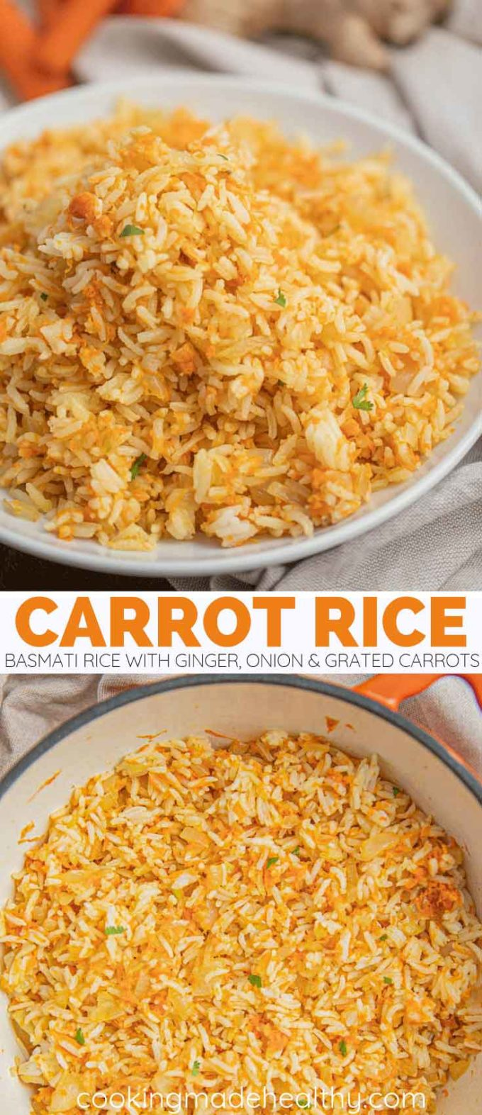 Carrot Rice with ginger and onion