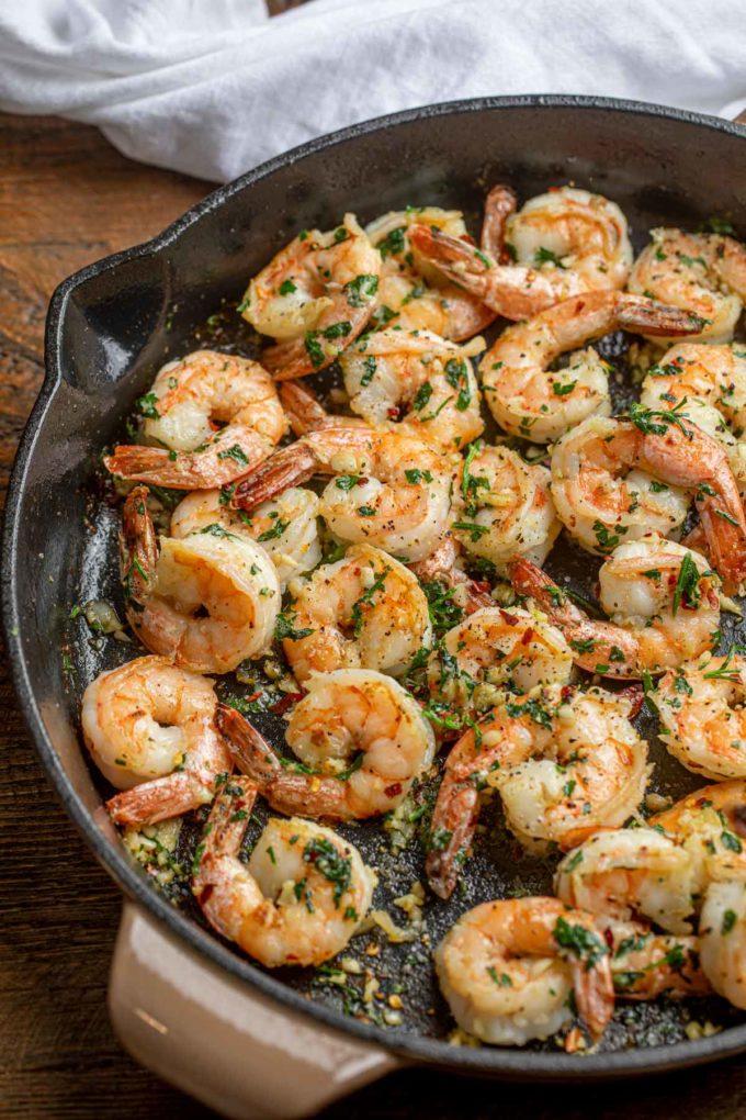Garlic Herb Shrimp in Skillet