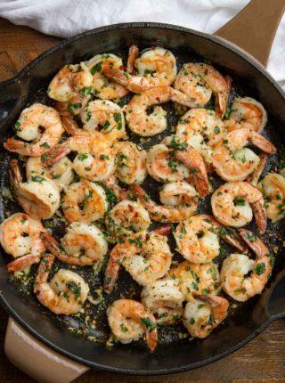 Skillet Healthy Shrimp with Garlic Herbs and Lemon