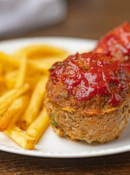 Mini Meatloaf Muffins with baked french fries