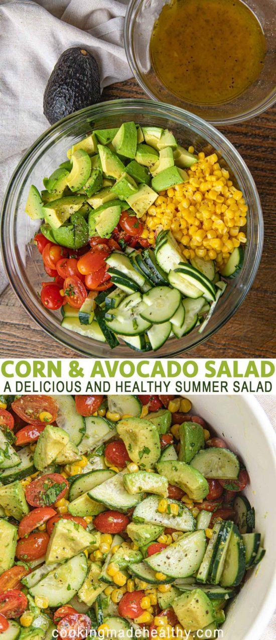 corn and avocado salad in a bowl