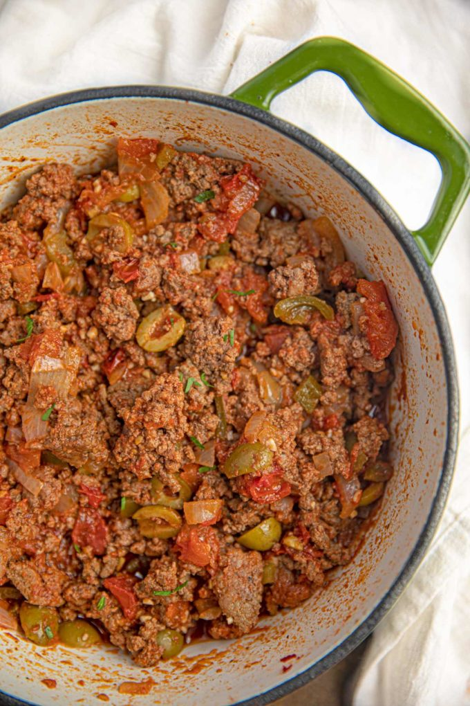 Cuban Picadillo in a green pan