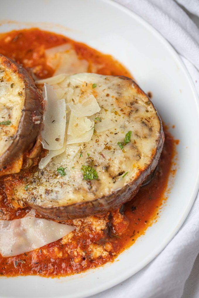 Plate of Eggplant Lasagna with tomato sauce