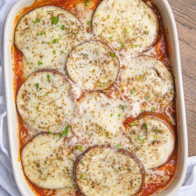 Healthy Eggplant Lasagna in baking dish