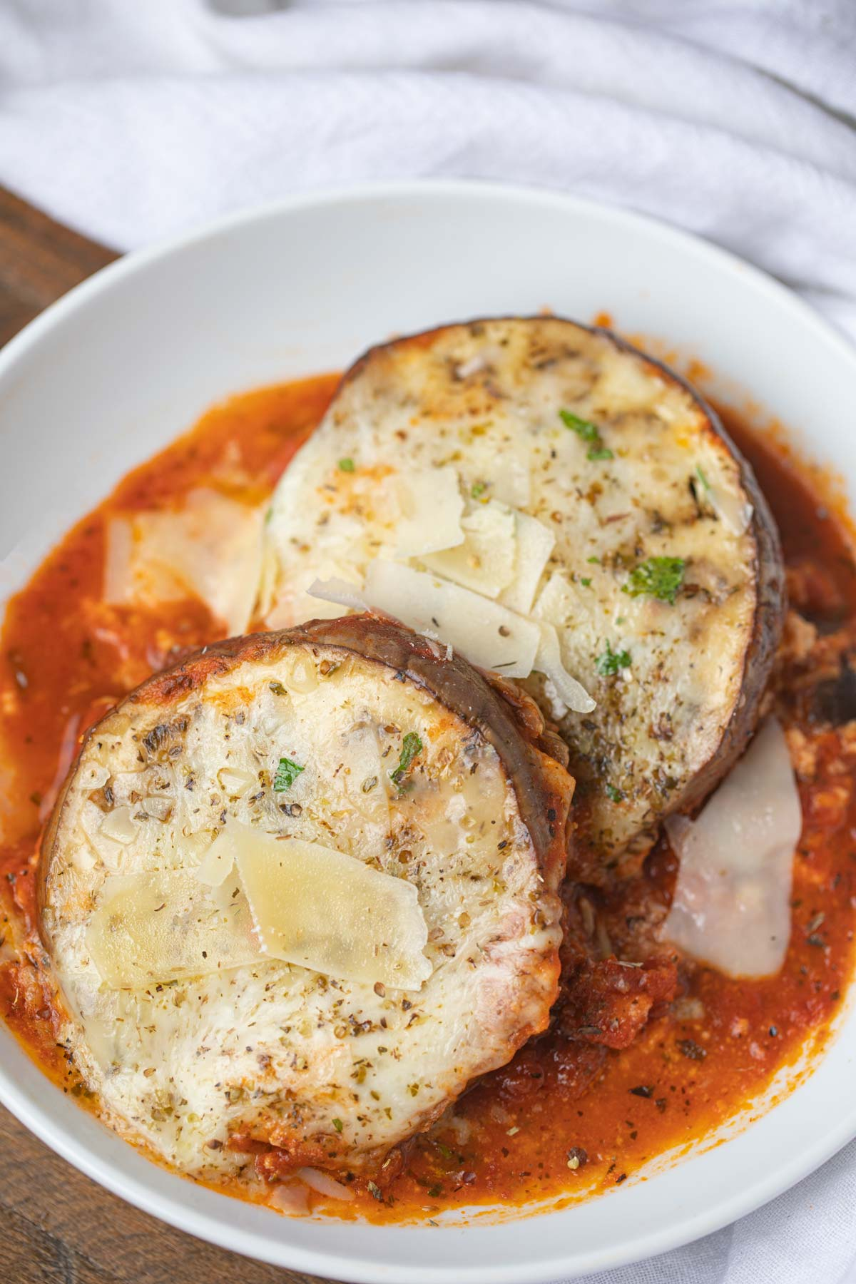 Serving of Eggplant Lasagna in white bowl