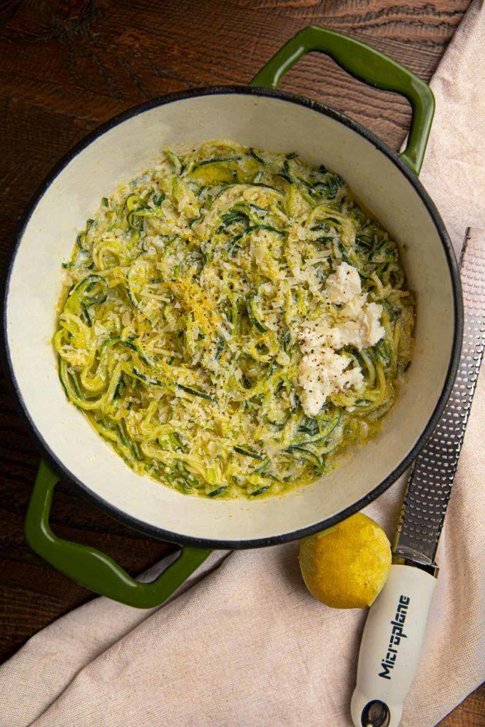 Lemon Ricotta Zoodles in green pot