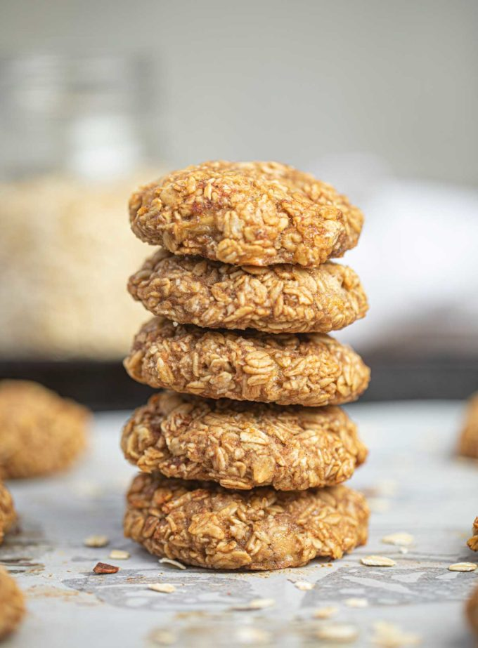 Oatmeal Banana Cookies in stack