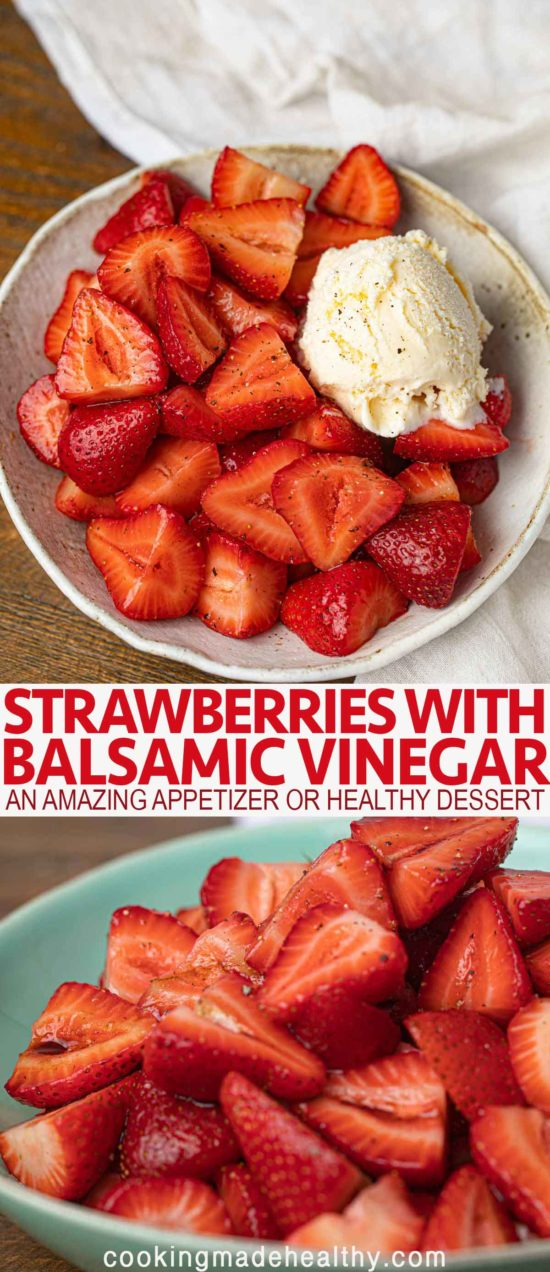 balsamic strawberries in a bowl