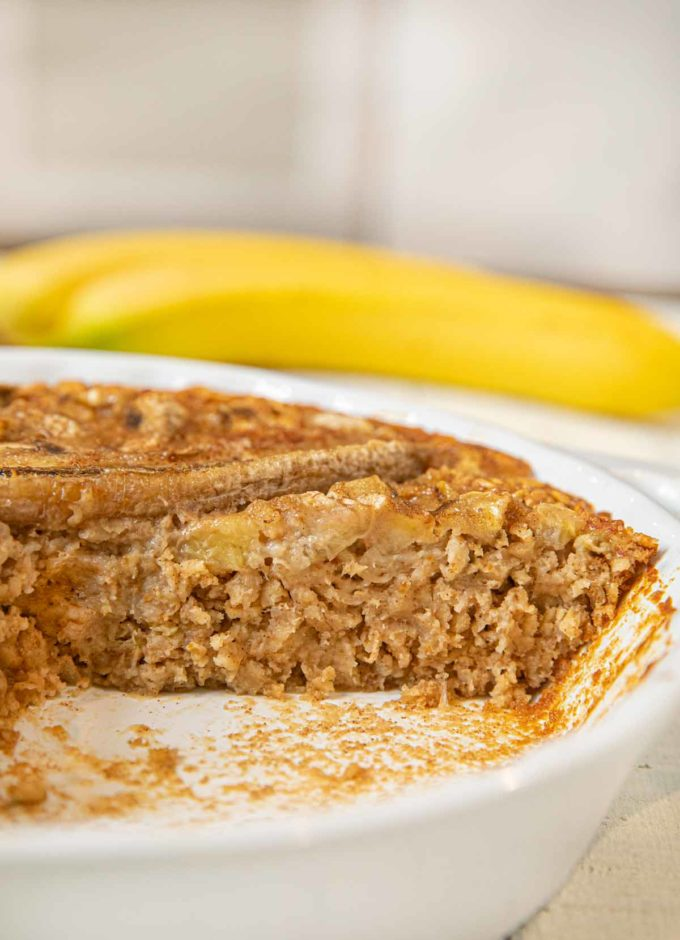 Baked Banana Oatmeal in pie plate