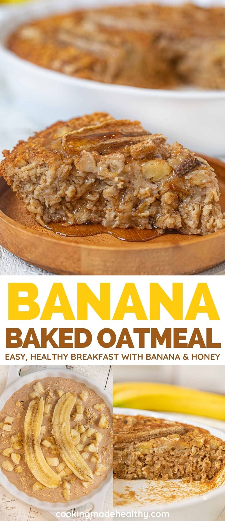Banana Baked Oatmeal before and after it's baked.