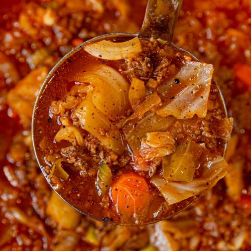 Beef and Cabbage Roll Soup in Ladle